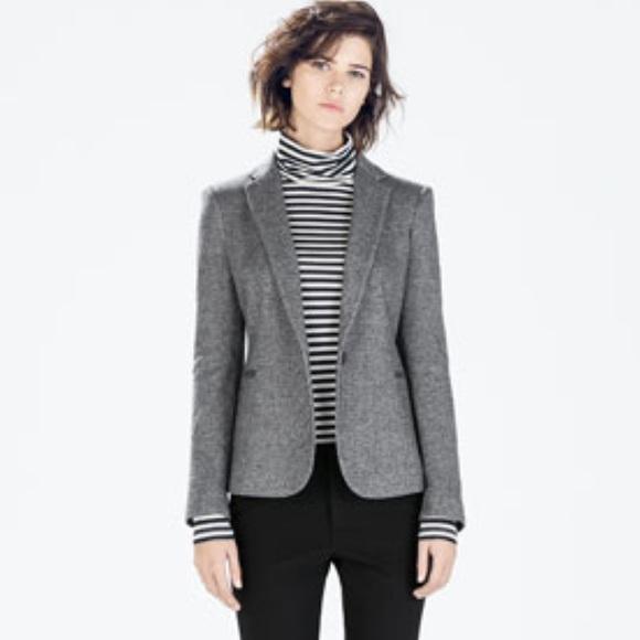 80% off Zara Jackets & Blazers - Zara Basic Women's Gray Blazer ...