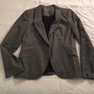 Zara Jackets Coats Basic Womens Gray Blazer With Elbow Patch
