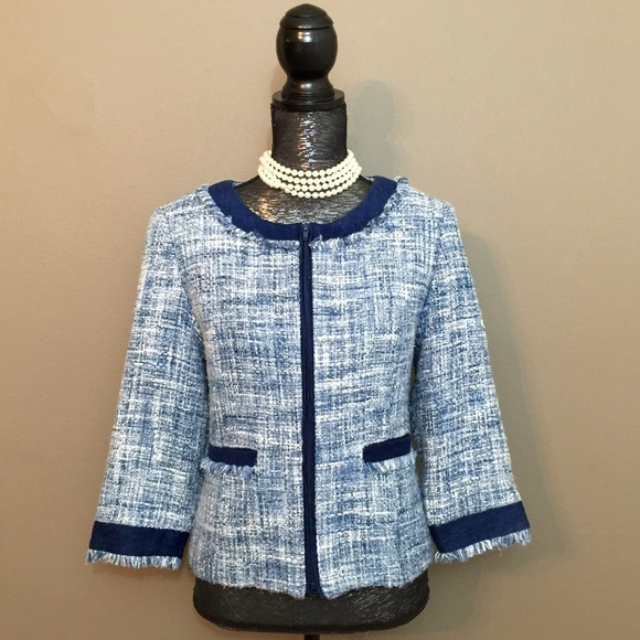 Classy Jackie Kennedy Style Blue Tweed Jacket