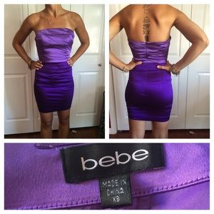 Bebe purple strapless dress
