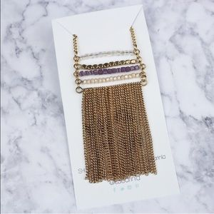 Purple stone gold chain long necklace boho
