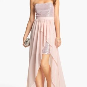 baby pink prom dress chiffon/sequin