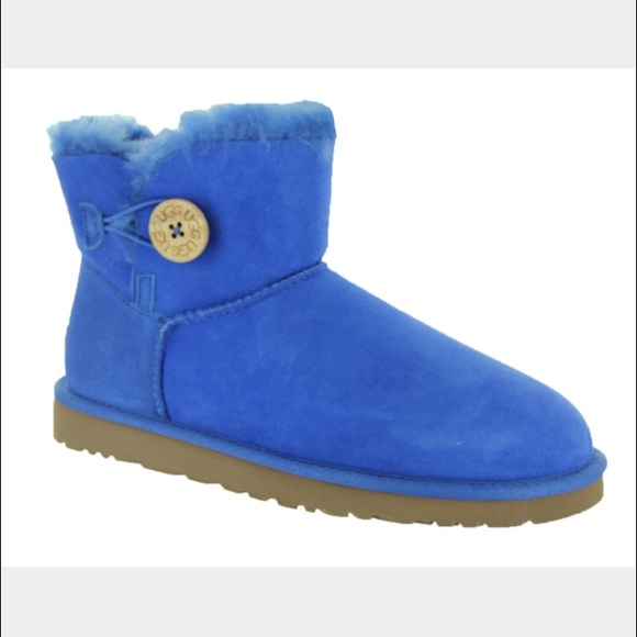 UGG mini Bailey button smooth blue boots sz 8 new