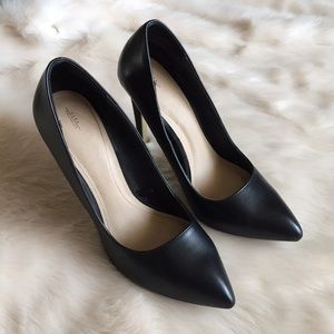 Zara Black Leather Pointed Toe Pumps Size 39