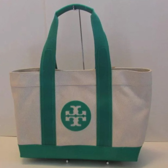 e8b0d8e25cc Tory Burch canvas green beach tote bag shopper