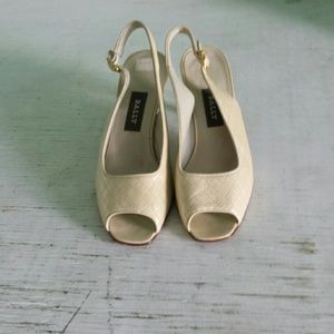 Bally Ivory Leather Open Toe Heels