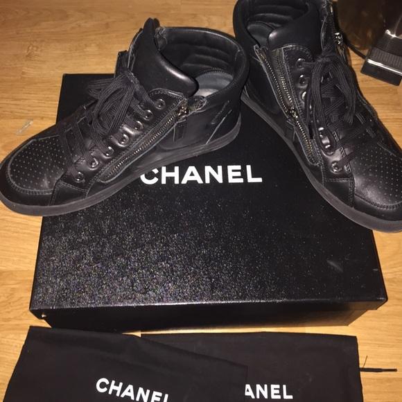 67 chanel shoes chanel tennis shoes black size 6