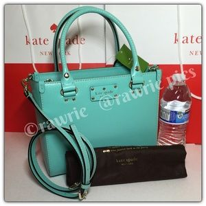 New Kate Spade blue leather square tote
