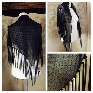 Accessories - Black Sheer Chiffon Wavy Shawl Wrap w Fringe
