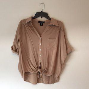Khaki Tie Front Button Up Blouse
