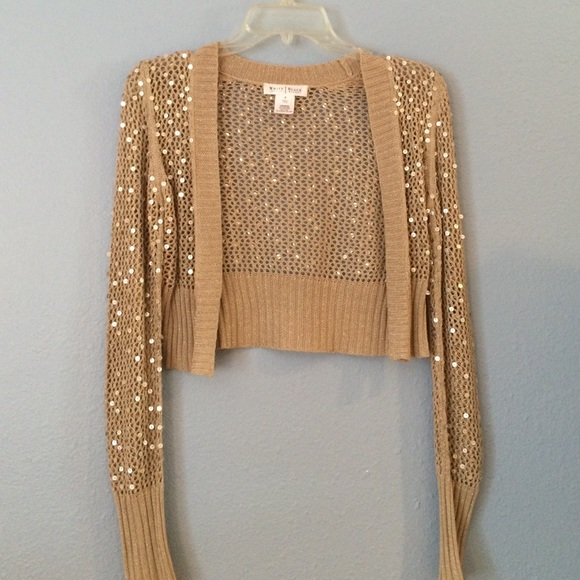 80% off White House Black Market Tops - WHBM Gold Sequin Shawl ...
