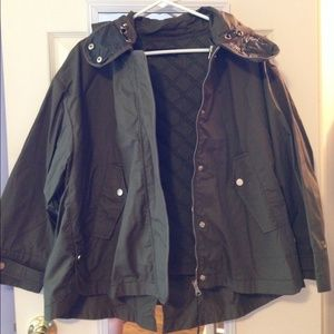 Brand New ZARA Short Hooded Parka Cape Coat