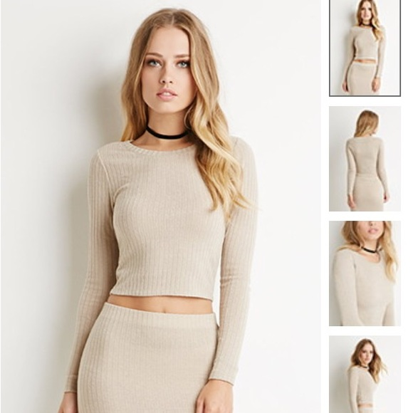 52fad5cf62 Forever 21 Tops | Taupe Ribbed Knit Crop Top | Poshmark