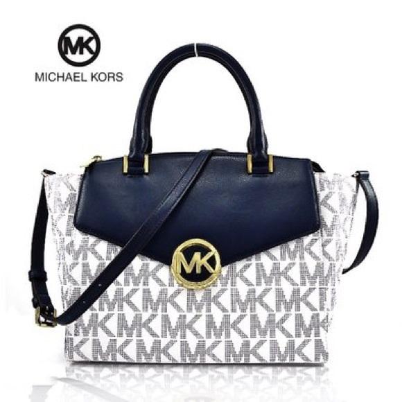 62% off MICHAEL Michael Kors Handbags - SALE Navy & White Monogram ...