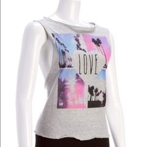 "NWT GRAPHIC  ""LOVE"" TANK TOP TEE SLASHED IN BACK"