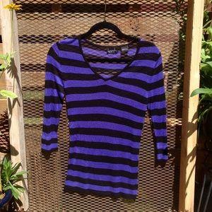 NWOT Kersh 3/4 sleeve blue & black shear top.