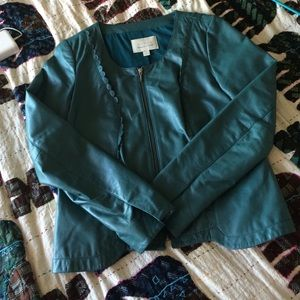 Teal leather jacket by hinge