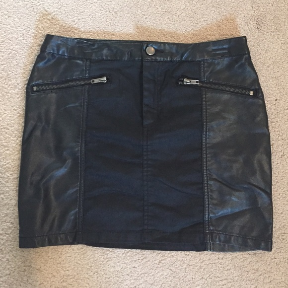 h m black leather mini skirt from monika s closet on