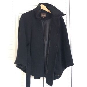 Cole Haan Black cape jacket button down with belt