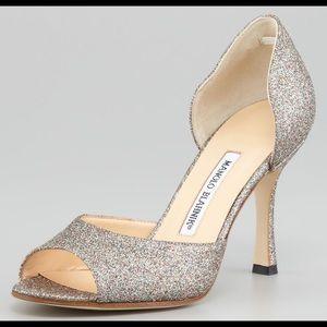 Manolo Blahnik Astutado Glitter d'Orsay Pump Heels