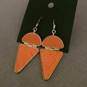 Orange & gold geometric earrings