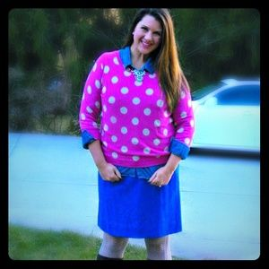 Old Navy Sweaters - Old Navy Pink Polka Dot Sweater