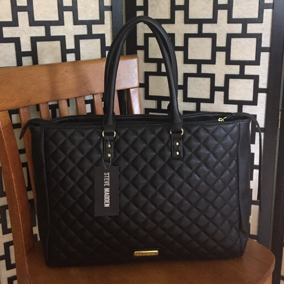 Steve Madden Bags Zinnia Black Quilted Tote Poshmark