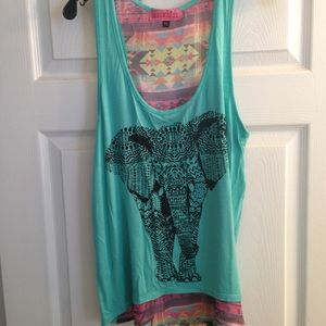 Elephant high/low tank top with sheer back.