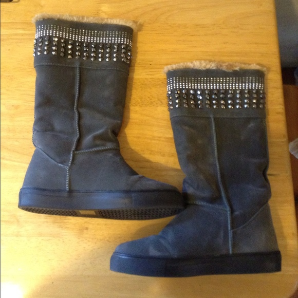 Gray Tall Ugg Style Boots