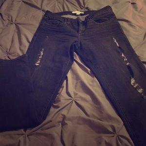 Distressed Faded Black Wash Skinny Jeans