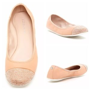 BCBGeneration Agatha Beaded Leather Flat Pink Nude
