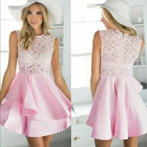 Gorgeous Pink Cocktail Lace Dress