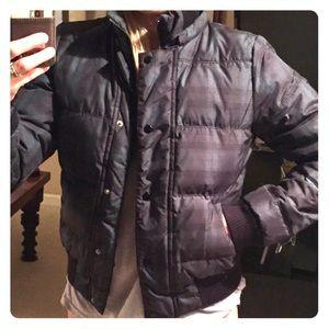 Blue and Green down jacket coat. Side pocket