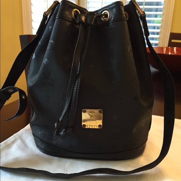 0548e351b22a MCM Bags | Authen Vintage Leather Canvas Drawstring Bag | Poshmark