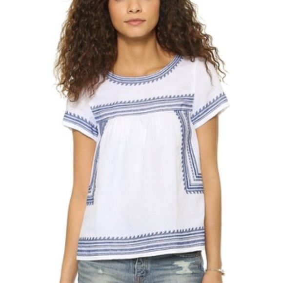 2372d700b66543 Madewell Tops - Madewell embroidered top- white and blue