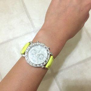 Accessories - *New* rhinestone watch w neon leather-like strap