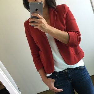 Topshop Jackets & Blazers - Topshop red knit blazer with 3/4 sleeves size 6