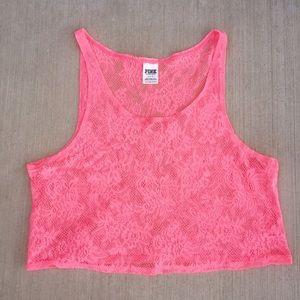 PINK Victoria's Secret Tops - PINK Lace Crop Top