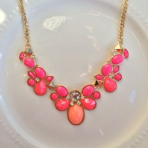 Pink and peach statement necklace