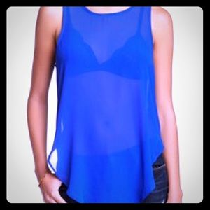 Tops - Electric Blue Sheer Cowl-Back Tank
