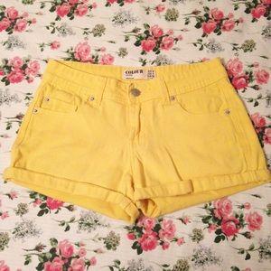 Cotton On Pants - Yellow Shorts Cuffed
