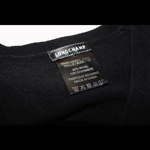 Longchamp Black Wool Cashmere Short-Sleeve Sweater