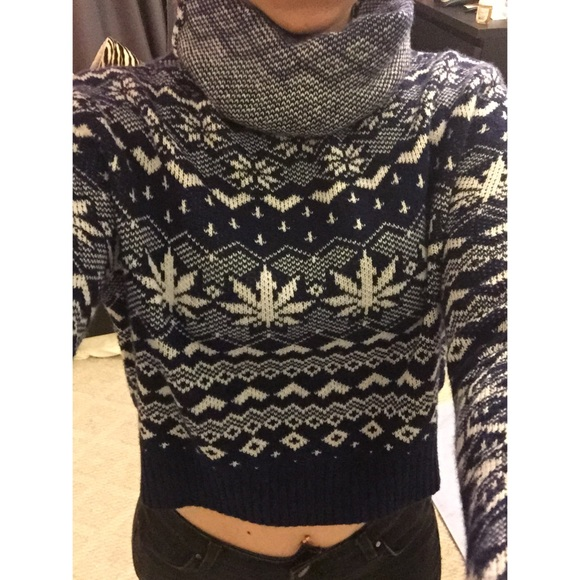 44% off Urban Outfitters Sweaters - Blue Marijuana cropped sweater ...