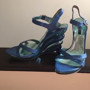 Sergio Rossi blue snaked wedges!