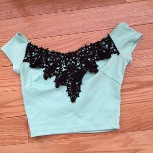 Mint crop top with black crochet lace