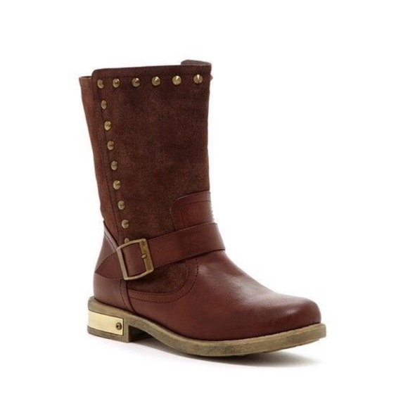 Cape Robbin Shoes - Cape Robbin Metal Studded Boot Brown