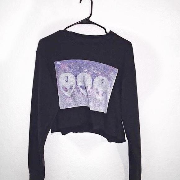 42245e2934a6 Brandy Melville Sweaters - Brandy Melville  Nancy 3D alien crew neck sweater