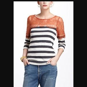 Anthropologie striped lace top