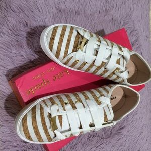 Kate Spade Lodero White Stripe Cork Sneakers Shoes