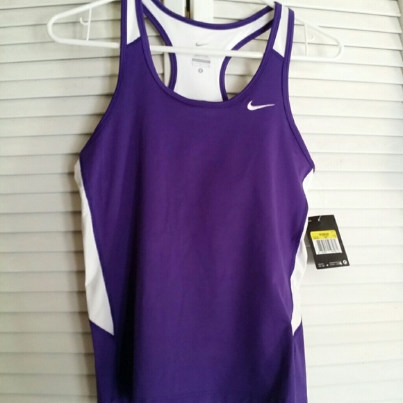 Nike nike purple running top with built in sports bra for Shirts with built in sports bra